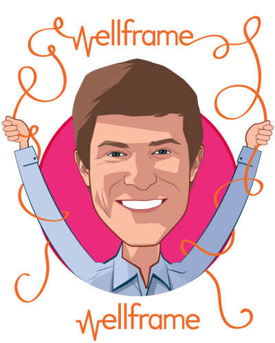 Overlay caricature of Jacob Sattelmair, who is speaking at HLTH and is CEO at Wellframe