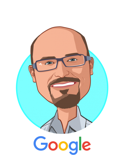 Main caricature of Mark DePristo, who is speaking at HLTH and is Head of Deep Learning for Genetics and Genomics at Google Inc.