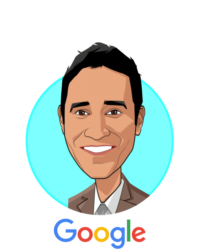 Main caricature of Sri Madabushi, who is speaking at HLTH and is Business Development Director - CAD & Health Research at Google