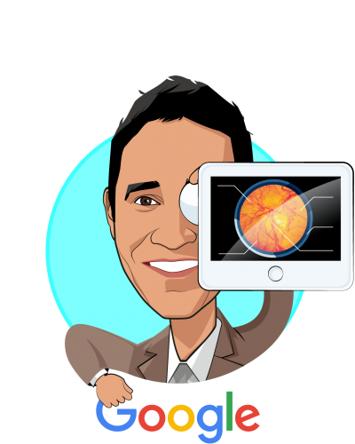Overlay caricature of Sri Madabushi, who is speaking at HLTH and is Business Development Director - CAD & Health Research at Google
