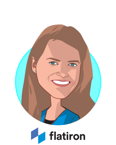Main caricature of Dr. Amy Abernethy, who is speaking at HLTH and is Chief Medical Officer, Chief Scientific Officer & SVP, Oncology at Flatiron Health