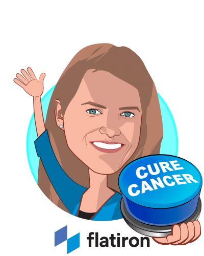 Overlay caricature of Dr. Amy Abernethy, who is speaking at HLTH and is Chief Medical Officer, Chief Scientific Officer & SVP, Oncology at Flatiron Health