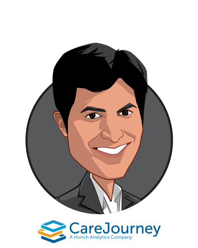 Main caricature of Aneesh Chopra, who is speaking at HLTH and is Former CTO of the United States; President, CareJourney at CareJourney