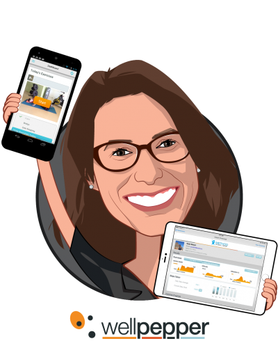 Overlay caricature of Anne Weiler, who is speaking at HLTH and is CEO and Co-founder at Wellpepper
