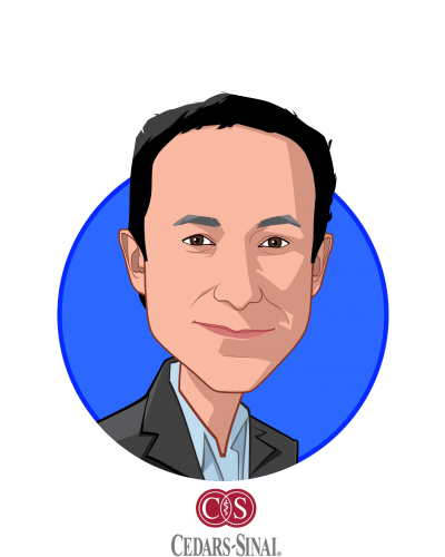 Main caricature of Darren Dworkin, who is speaking at HLTH and is Chief Information Officer at Cedars-Sinai Health System