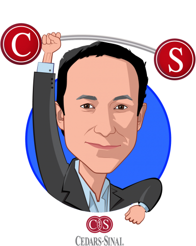 Overlay caricature of Darren Dworkin, who is speaking at HLTH and is Chief Information Officer at Cedars-Sinai Health System