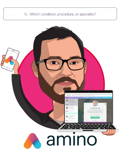 Overlay caricature of David Vivero, who is speaking at HLTH and is Co-founder and CEO at Amino