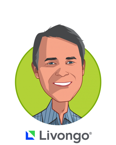 Main caricature of Glen Tullman, who is speaking at HLTH and is Chairman and Chief Executive Officer at Livongo