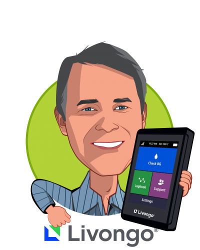 Overlay caricature of Glen Tullman, who is speaking at HLTH and is Chairman and Chief Executive Officer at Livongo