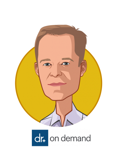 Main caricature of Hill Ferguson, who is speaking at HLTH and is Chief Executive Officer at Doctor On Demand