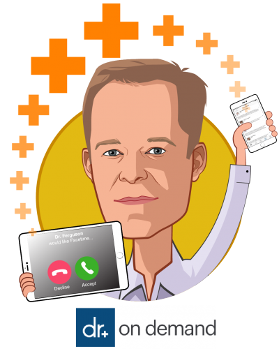 Overlay caricature of Hill Ferguson, who is speaking at HLTH and is Chief Executive Officer at Doctor On Demand