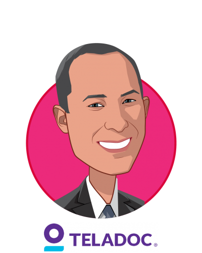 Main caricature of Jason Gorevic, who is speaking at HLTH and is Chief Executive Officer at Teladoc