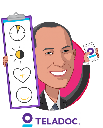 Overlay caricature of Jason Gorevic, who is speaking at HLTH and is Chief Executive Officer at Teladoc