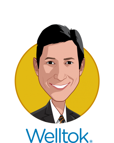 Main caricature of Jeff Margolis, who is speaking at HLTH and is Chairman and CEO at Welltok