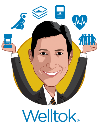 Overlay caricature of Jeff Margolis, who is speaking at HLTH and is Chairman and CEO at Welltok