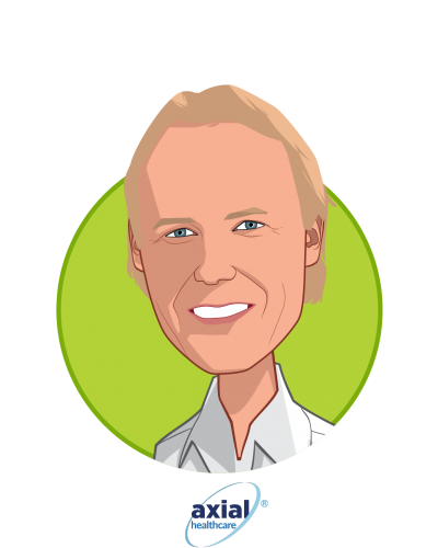 Main caricature of John Donahue, who is speaking at HLTH and is Chairman and CEO at axialHealthcare