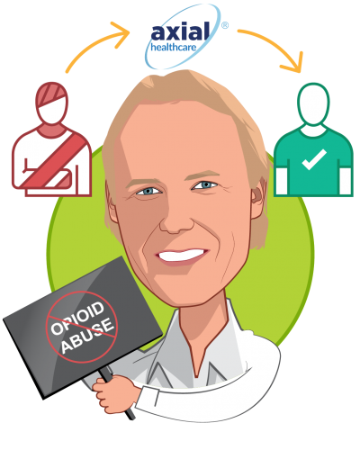 Overlay caricature of John Donahue, who is speaking at HLTH and is Chairman and CEO at axialHealthcare