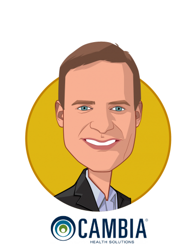 Main caricature of Mark Ganz, who is speaking at HLTH and is President and Chief Executive Officer at Cambia Health Solutions