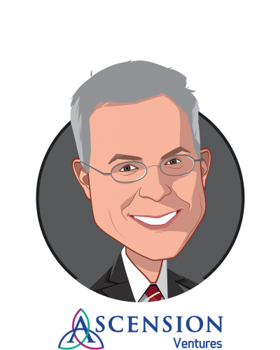 Main caricature of Matt Hermann, who is speaking at HLTH and is Senior Managing Director at Ascension Ventures