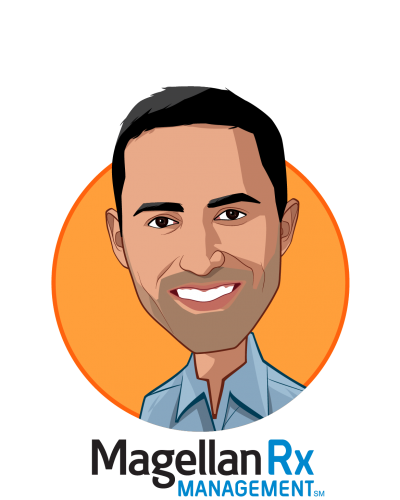 Main caricature of Mostafa Kamal, who is speaking at HLTH and is CEO at Magellan Rx Management