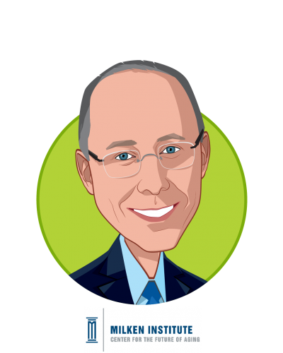 Main caricature of Paul Irving, who is speaking at HLTH and is Chairman at Milken Institute Center for the Future of Aging