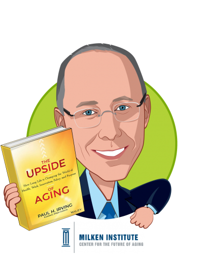 Overlay caricature of Paul Irving, who is speaking at HLTH and is Chairman at Milken Institute Center for the Future of Aging