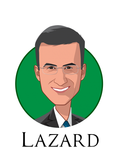 Main caricature of Peter Orszag, who is speaking at HLTH and is Vice Chairman of Investment Banking and Global Co-Head of Healthcare at Lazard