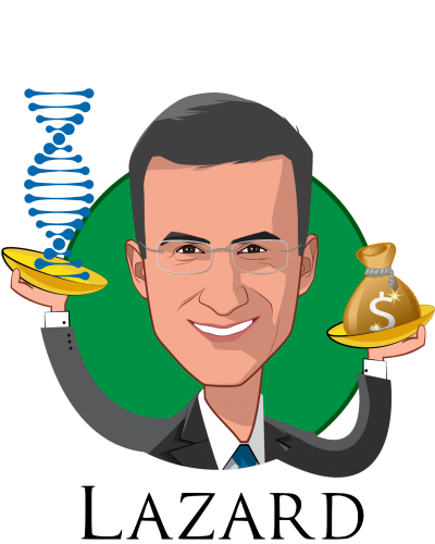 Overlay caricature of Peter Orszag, who is speaking at HLTH and is Vice Chairman of Investment Banking and Global Co-Head of Healthcare at Lazard