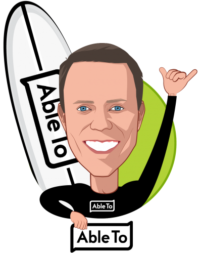 Overlay caricature of Rob Rebak, who is speaking at HLTH and is President & CEO at AbleTo Inc.