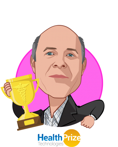 Overlay caricature of Tom Kottler, who is speaking at HLTH and is Co-founder and CEO at HealthPrize Technologies