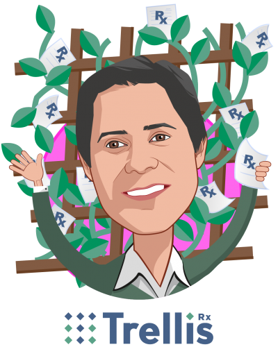 Overlay caricature of Alon Krashinsky, who is speaking at HLTH and is Co-Founder at Trellis Rx