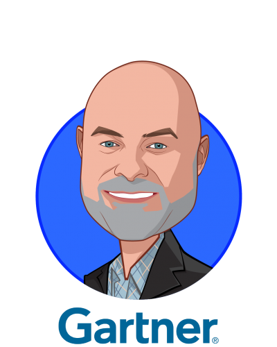 Main caricature of Brad Holmes, who is speaking at HLTH and is Managing VP at Gartner