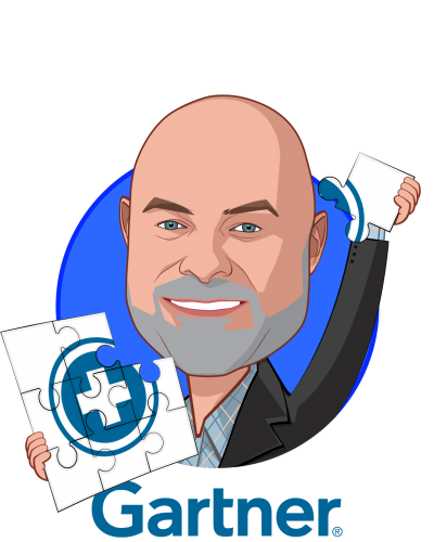Overlay caricature of Brad Holmes, who is speaking at HLTH and is Managing VP at Gartner