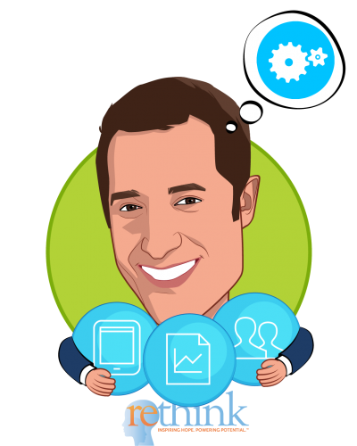 Overlay caricature of Daniel A. Etra, who is speaking at HLTH and is Co-Founder & Chief Executive Officer at Rethink