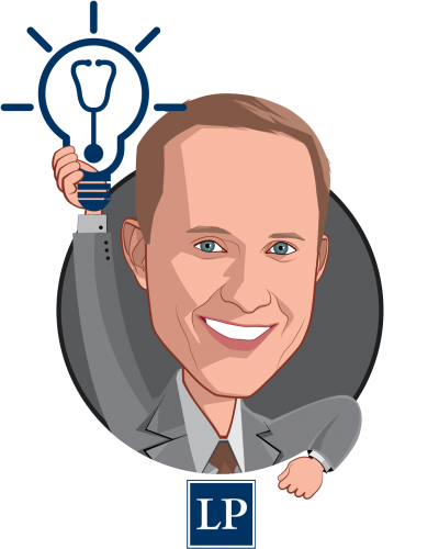 Overlay caricature of David Muhlestein, who is speaking at HLTH and is Chief Research Officer at Leavitt Partners