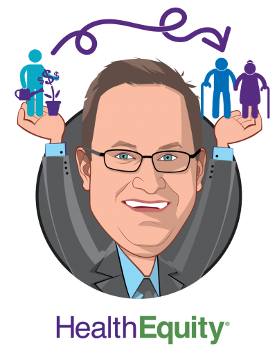 Overlay caricature of Jon Kessler, who is speaking at HLTH and is President & CEO at HealthEquity, Inc.