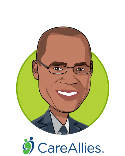 Main caricature of Julian Harris, M.D., M.B.A., who is speaking at HLTH and is President at CareAllies®