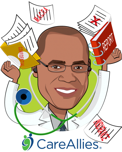 Overlay caricature of Julian Harris, M.D., M.B.A., who is speaking at HLTH and is President at CareAllies®