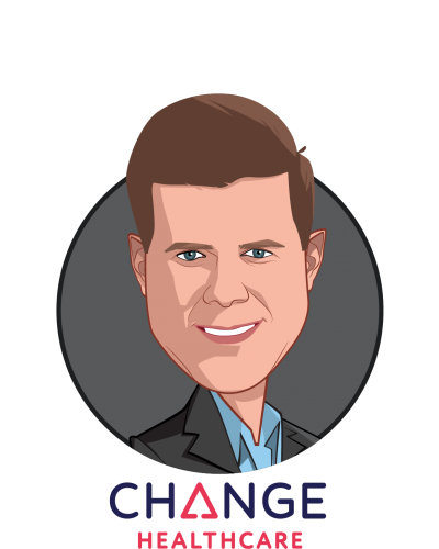 Main caricature of Neil de Crescenzo, who is speaking at HLTH and is President and Chief Executive Officer at Change Healthcare