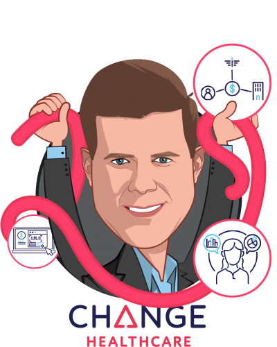 Overlay caricature of Neil de Crescenzo, who is speaking at HLTH and is President and Chief Executive Officer at Change Healthcare
