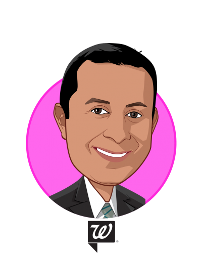 Main caricature of Nimesh S. Jhaveri, MBA, R.Ph., who is speaking at HLTH and is DVP, Health Services Development at Walgreen Co.