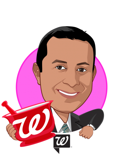 Overlay caricature of Nimesh S. Jhaveri, MBA, R.Ph., who is speaking at HLTH and is DVP, Health Services Development at Walgreen Co.