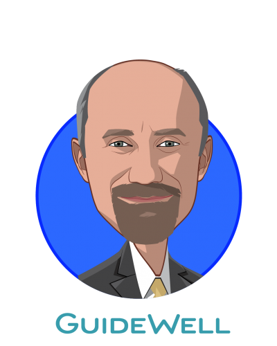Main caricature of René Lerer, M.D., who is speaking at HLTH and is President at GuideWell
