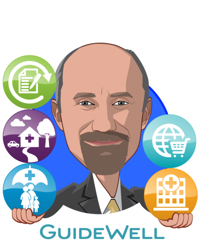 Overlay caricature of René Lerer, M.D., who is speaking at HLTH and is President at GuideWell