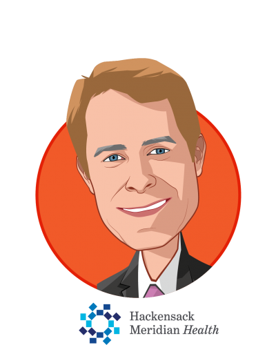 Main caricature of Robert C. Garrett, who is speaking at HLTH and is Co-CEO at Hackensack Meridian Health