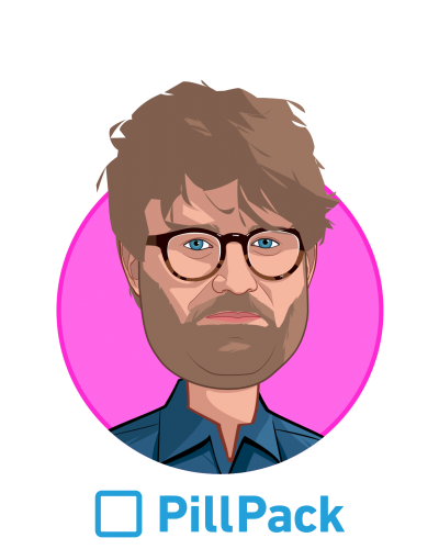 Main caricature of TJ Parker, who is speaking at HLTH and is CEO & Co-founder at PillPack