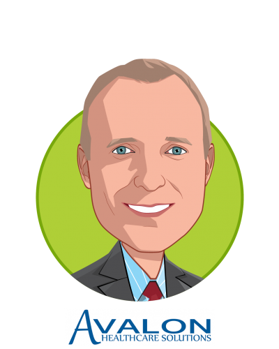 Main caricature of Dr. William L. Kerr, who is speaking at HLTH and is CEO at Avalon Healthcare Solutions