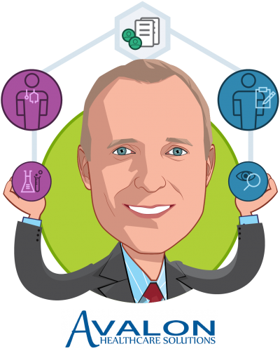 Overlay caricature of Dr. William L. Kerr, who is speaking at HLTH and is CEO at Avalon Healthcare Solutions