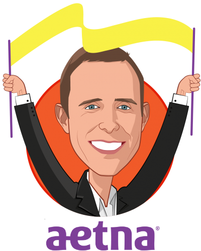 Overlay caricature of Ben Wanamaker, who is speaking at HLTH and is Head of Consumer Technology and Services at Aetna