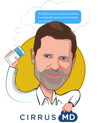 Overlay caricature of Blake McKinney, M.D., who is speaking at HLTH and is Co-Founder & Chief Medical Officer at CirrusMD